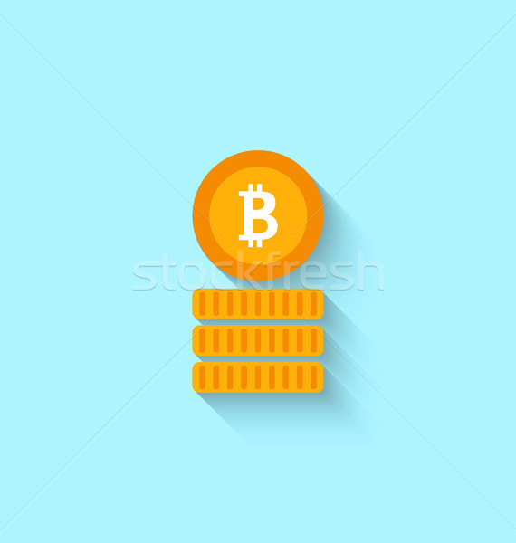 Bitcoin Sign for Internet Money. Crypto Currency Symbol. Simple Flat Icon Stock photo © smeagorl