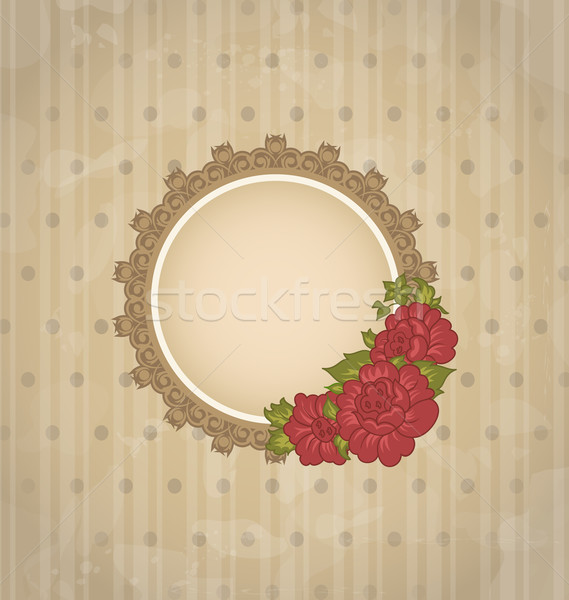 Vintage background with floral medallion and flowers Stock photo © smeagorl