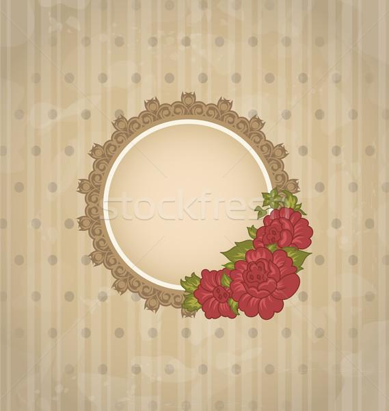 Klasszikus virágmintás medál virágok illusztráció virág Stock fotó © smeagorl