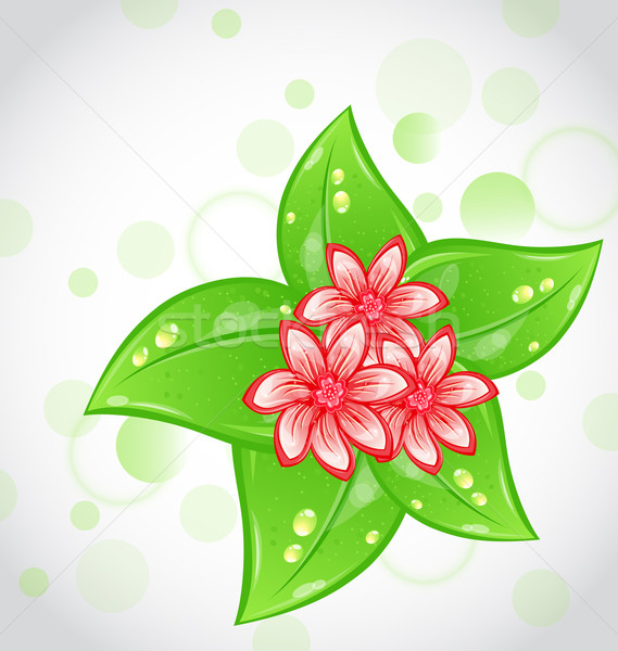 Spring background with flowers and leaves Stock photo © smeagorl