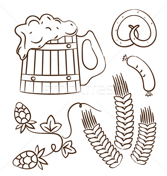 Octoberfest cartoon design elements (1), hand drawn style Stock photo © smeagorl