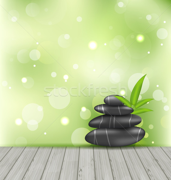 Zen stones on the wood texture, meditative oriental background Stock photo © smeagorl