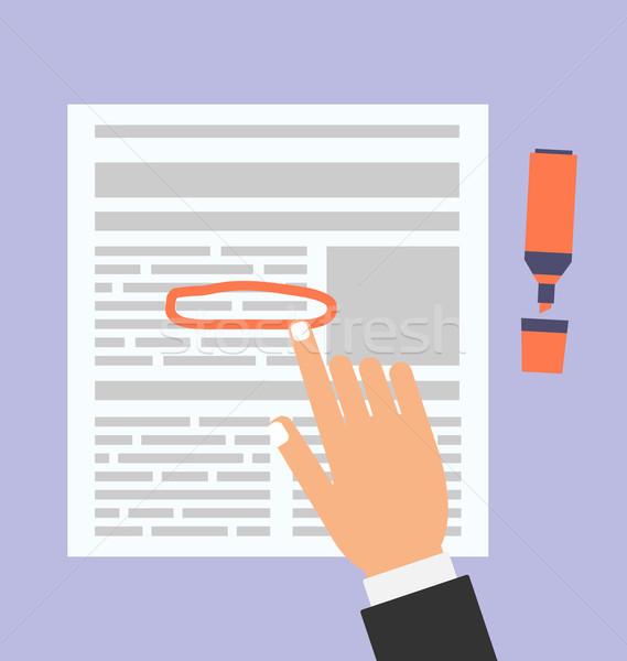 Empresario texto documento marcador ilustración simple Foto stock © smeagorl