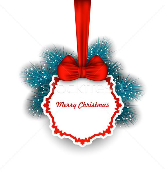 Karácsony elegáns kártya íj szalag fenyő Stock fotó © smeagorl