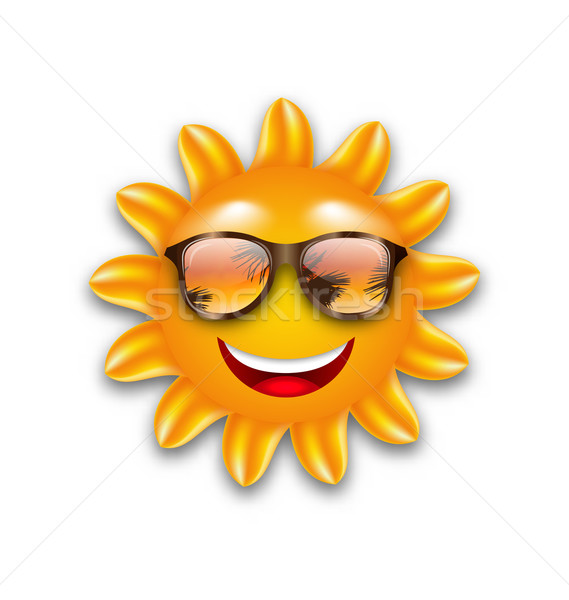 Foto d'archivio: Divertente · sole · occhiali · da · sole · isolato · illustrazione · bianco