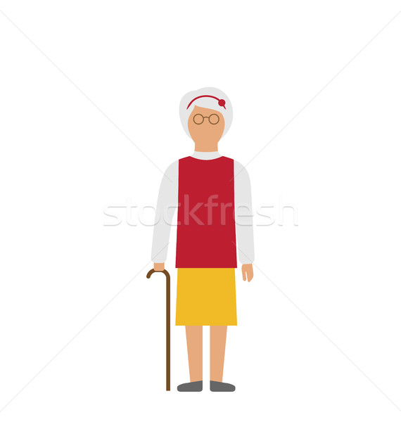 Old Woman Walking with Cane Isolated on White Background Stock photo © smeagorl