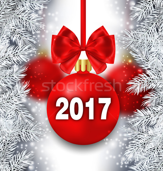 Holiday Background with Silver Fir Branches and Red Christmas Ball Stock photo © smeagorl