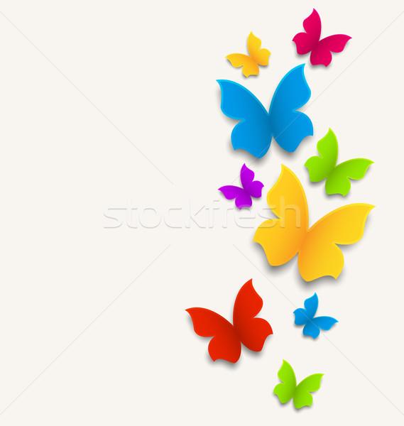 Primavera cartão borboletas colorido ilustração papel Foto stock © smeagorl