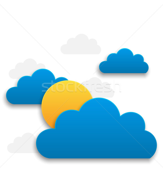 Paper sun with clouds, abstract summer background Stock photo © smeagorl