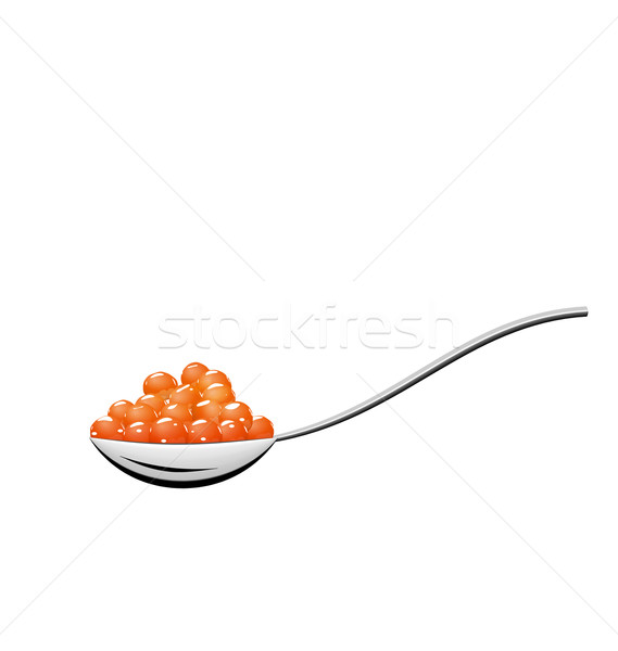 Teaspoon with red caviar isolated on white background Stock photo © smeagorl