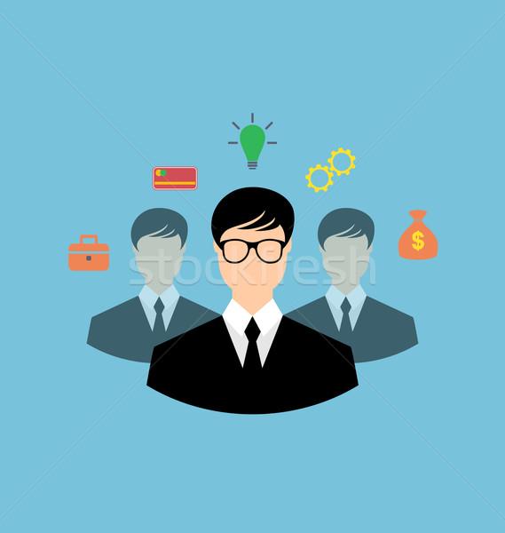 бизнесмен вокруг иконки сети инновация Сток-фото © smeagorl