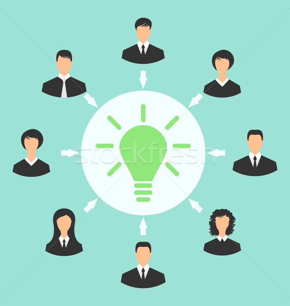Group of business people gather together, process of generating  Stock photo © smeagorl
