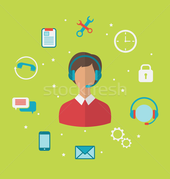 Concept of call center with operator woman in headset , helpdesk Stock photo © smeagorl