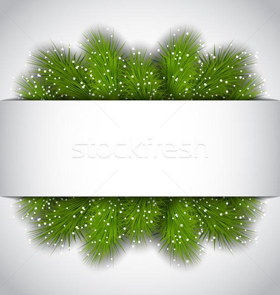 Рождества кадр зеленый ель иллюстрация копия пространства Сток-фото © smeagorl
