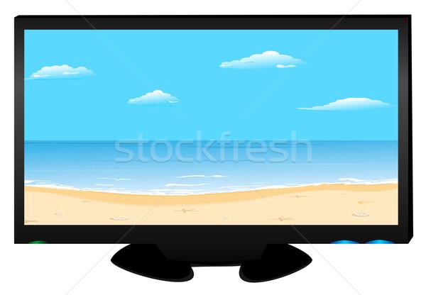 Plasma tv strand afbeelding vector achtergrond Stockfoto © smeagorl