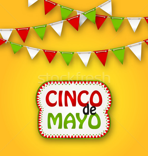Cinco De Mayo Holiday Bunting Background. Mexican Poster Stock photo © smeagorl
