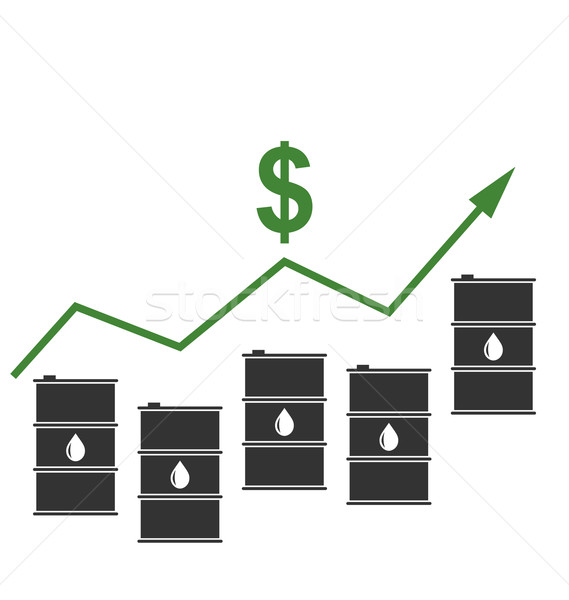 Concept of Oil Prices Up, Black Barrels and Graph Growth Stock photo © smeagorl
