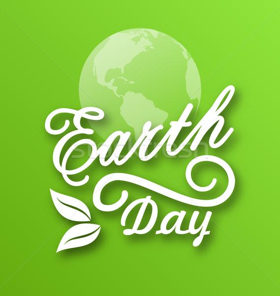 Föld napja szavak bolygók levelek illusztráció üzlet Stock fotó © smeagorl