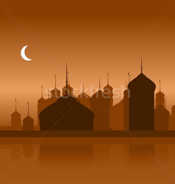 Ramazan siluet cami örnek soyut gece Stok fotoğraf © smeagorl