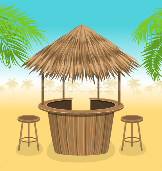 Beach Bar Thatch. Outdoor Background with Lounge Cafe Stock photo © smeagorl