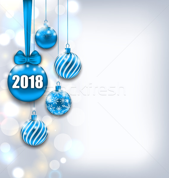 Happy New Year 2018 with Blue Glass Balls, Glitter Light Banner Stock photo © smeagorl