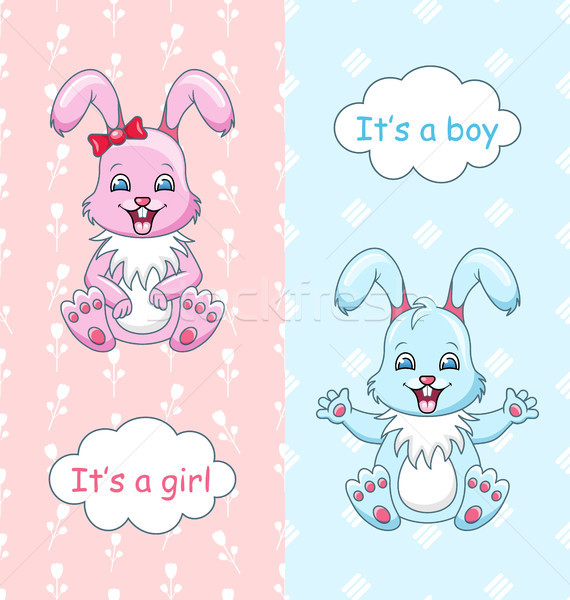 Baby Shower Congratulation Card with Rabbits Boy and Girl, Happy Children Stock photo © smeagorl