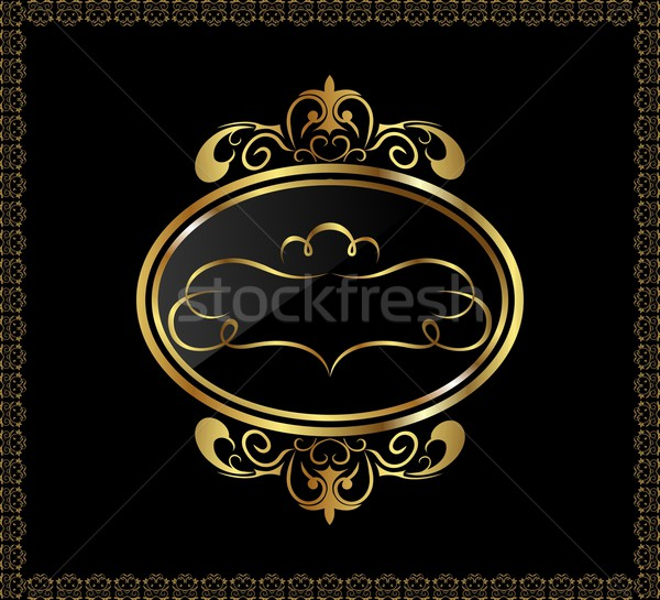 luxury gold ornament with emblem Stock photo © smeagorl
