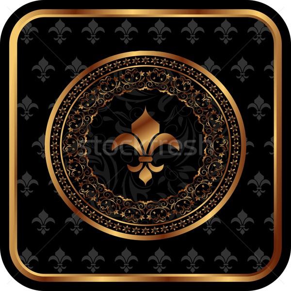 royal golden frame with fleur de lis Stock photo © smeagorl