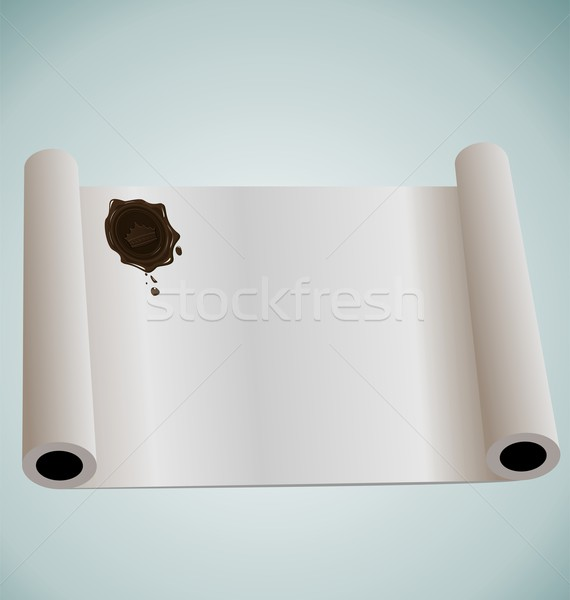 Illustration of paper roll with brown wax sealing Stock photo © smeagorl