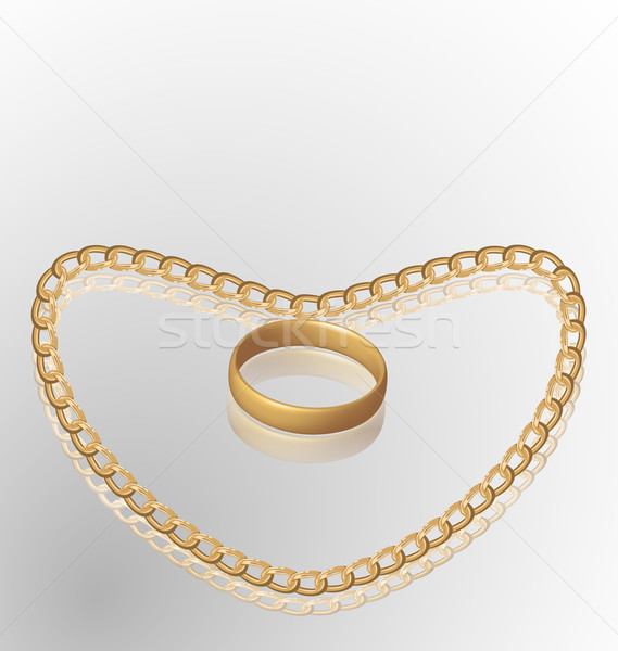 Jewelry ring on golden chain of heart shape Stock photo © smeagorl