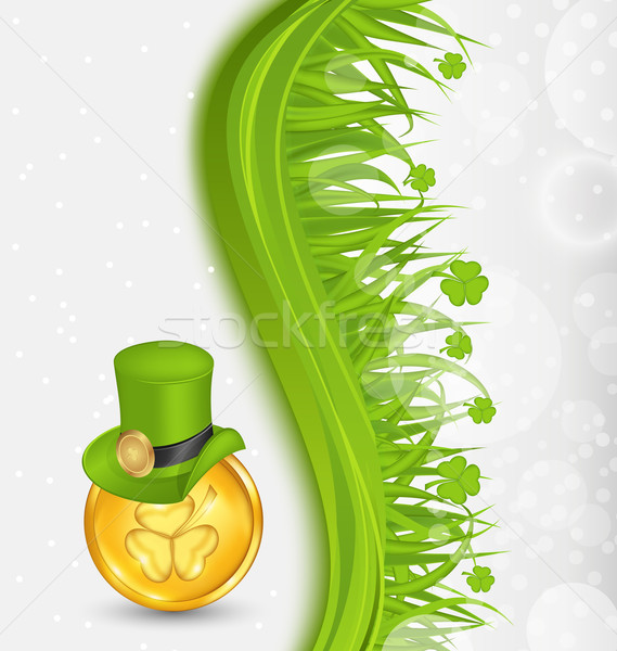 Natural background with coin, hat, shamrocks, grass. St. Patrick Stock photo © smeagorl