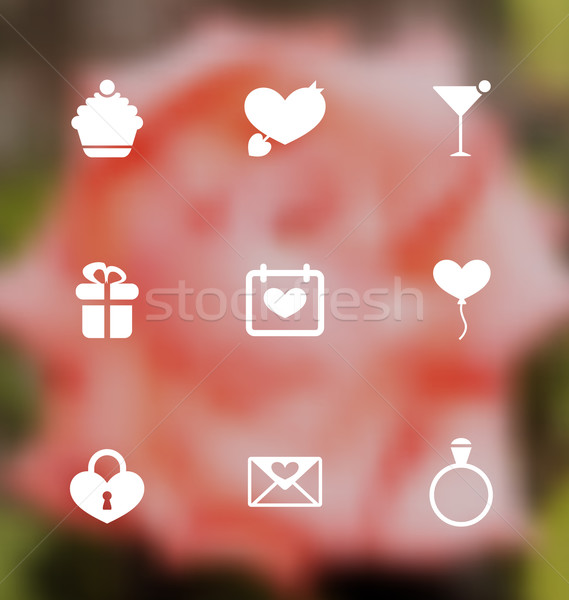Trendy flat icons for Valentines Day, blurred layout Stock photo © smeagorl