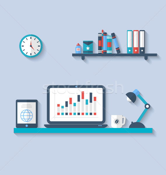 Flat icon of modern office interior with designer desktop, appli Stock photo © smeagorl