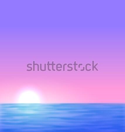 Sunrise mer soleil réaliste vague cartes postales Photo stock © smeagorl