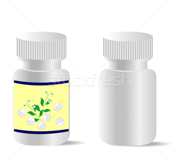 Two realistic bottles with tablets are isolated on white backgro Stock photo © smeagorl