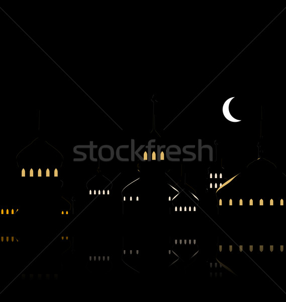 Silhouette of Mosque Against Night Sky with Crescent Moon Stock photo © smeagorl
