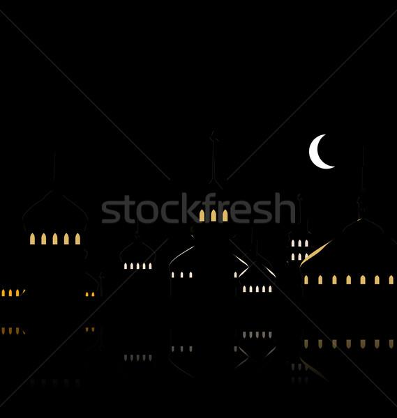 Sziluett mecset éjszakai ég félhold illusztráció sötét Stock fotó © smeagorl