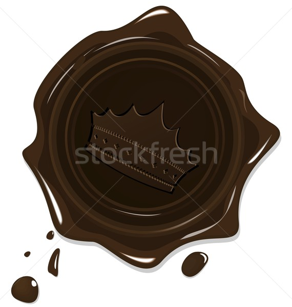 Illustration of wax grunge brown seal with crown Stock photo © smeagorl