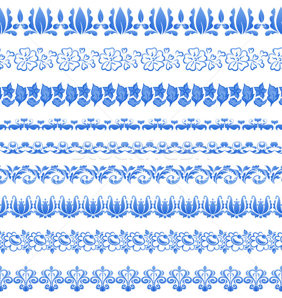 Set floral ornate tracery pattern in gzhel style for your design Stock photo © smeagorl