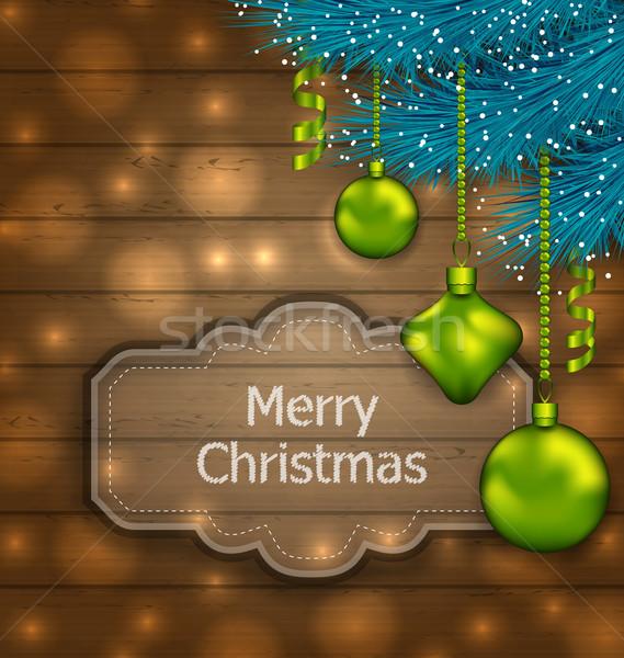 Christmas Card with Balls and Fir Twigs Stock photo © smeagorl