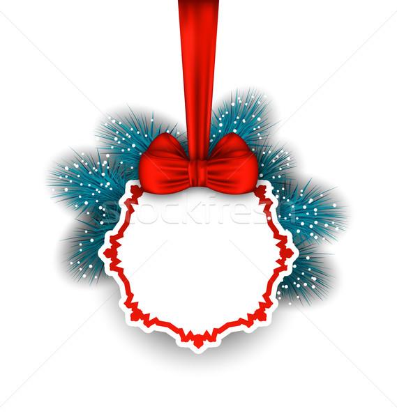 Noel tebrik kartı yay şerit örnek Stok fotoğraf © smeagorl