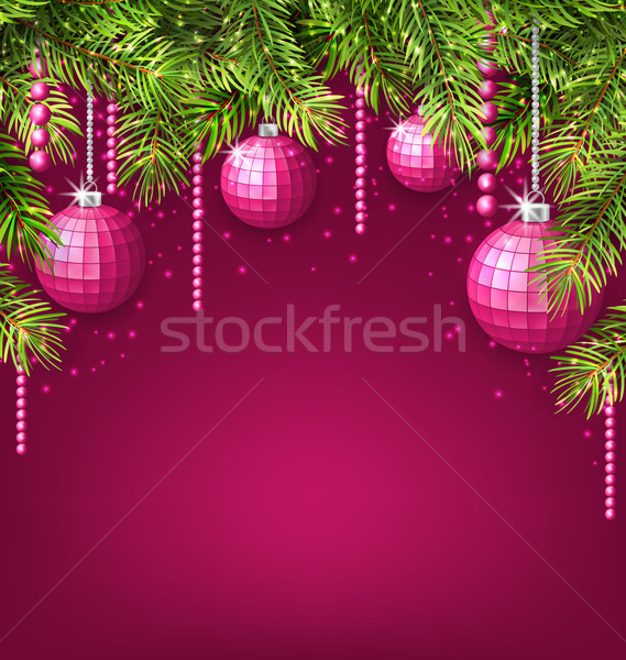 Pink Wallpaper with Fir Twigs and Glassy Balls Stock photo © smeagorl