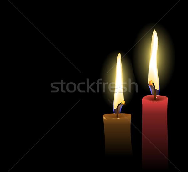 Réaliste Noël bougies vecteur fête feu Photo stock © smeagorl