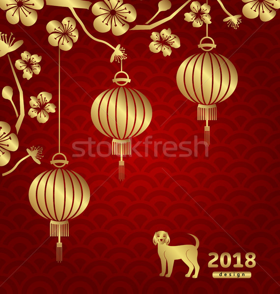 Happy Oriental Card for Chinese New Year 2018 Stock photo © smeagorl