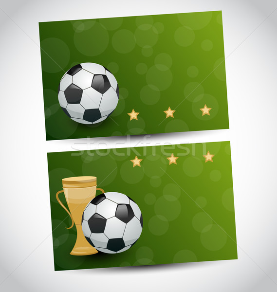 Football cards with champion cup and place for your text  Stock photo © smeagorl