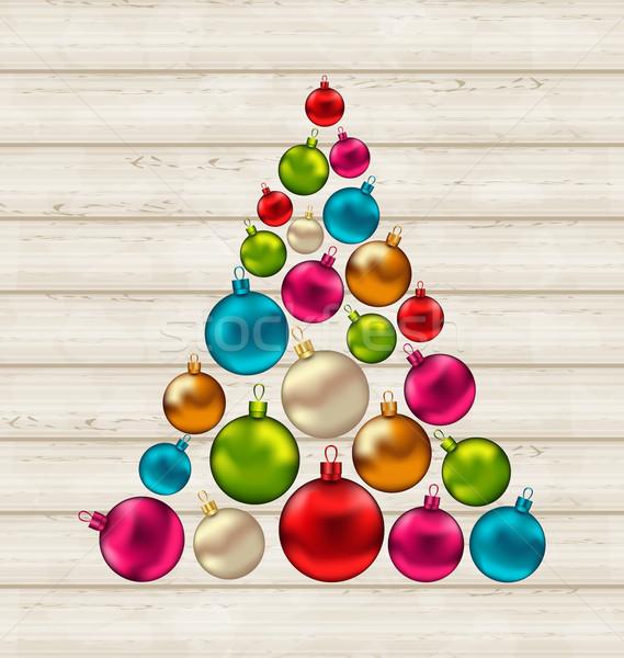 Stock fotó: Karácsonyfa · színes · golyók · fából · készült · illusztráció · fa