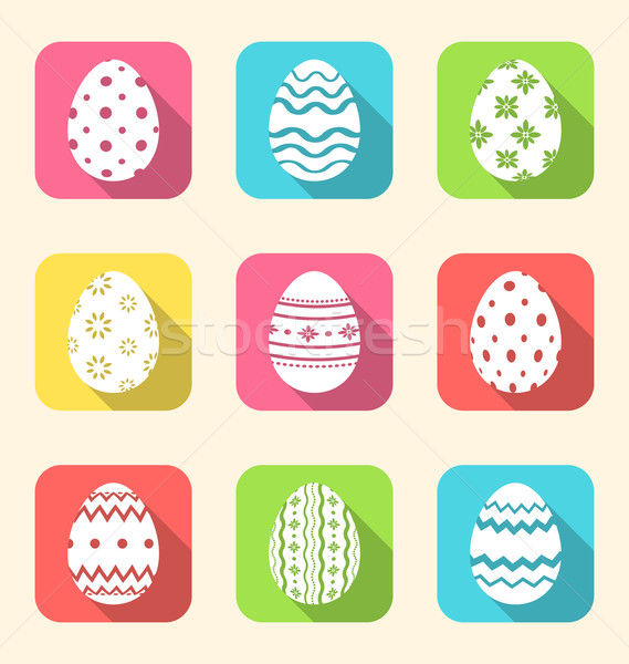 Stock photo: Flat icon of Easter ornate eggs, long shadow style