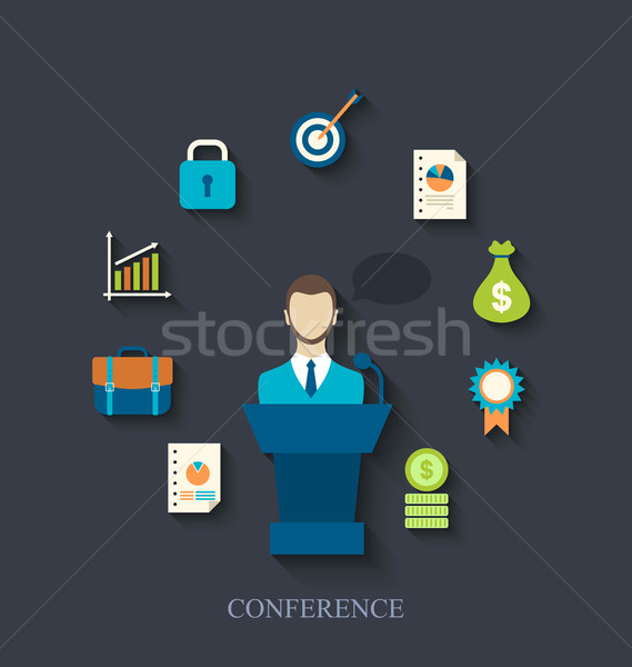 Orator speaking from tribune and flat icons of business conferen Stock photo © smeagorl