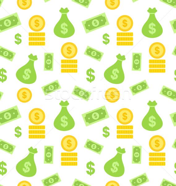 Seamless Texture with Money Bag Stock photo © smeagorl