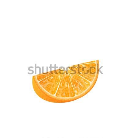 Fatia de laranja isolado ilustração branco água comida Foto stock © smeagorl
